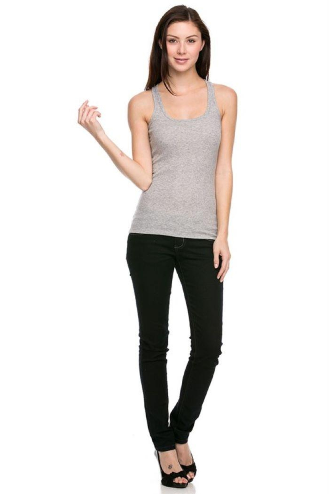 Ambiance Ribbed Racer Back Tank Top - Main Image