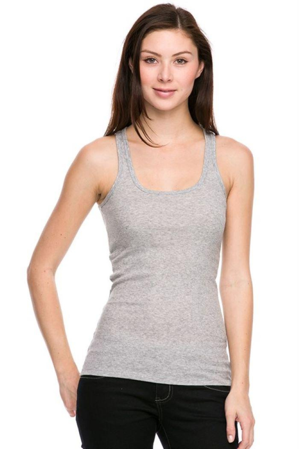Ambiance Ribbed Racer Back Tank Top - Side Cropped Image