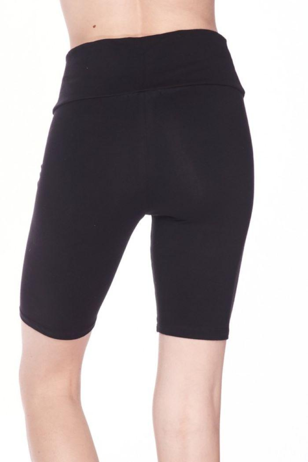 Ambiance Solid Waist Band Biker Shorts - Side Cropped Image