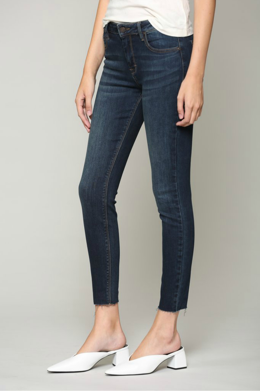 Hidden Jeans AMELIA DARK WASH SKINNY WITH A RAW HEM - Front Full Image