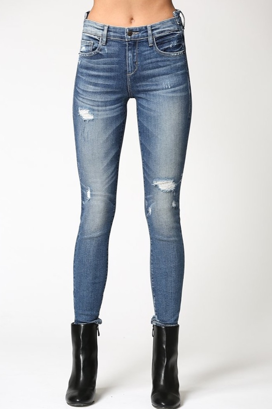 Hidden Jeans Amelia Uneven Waistband Skinny Jean - Back Cropped Image