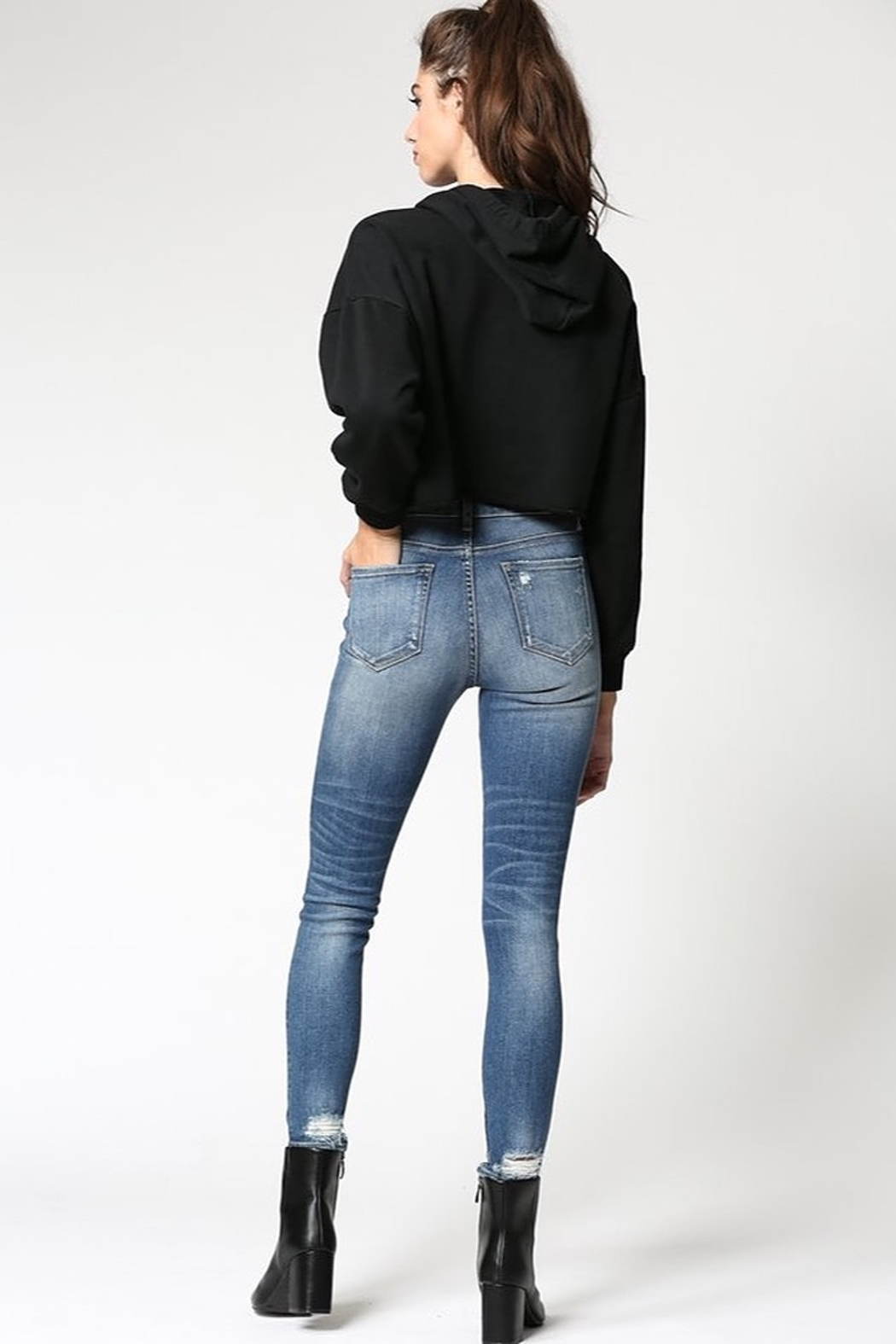 Hidden Jeans Amelia Uneven Waistband Skinny Jean - Front Full Image