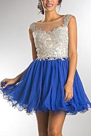 Amelia Couture Short Blue Prom Dress - Product Mini Image
