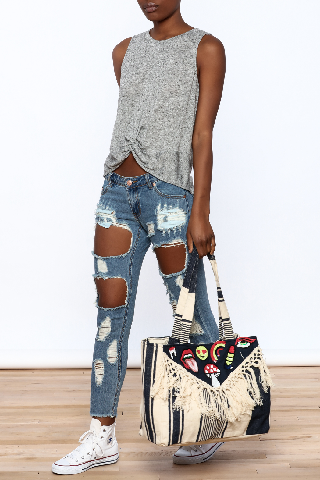 America & Beyond Fringe Patch Tote - Back Cropped Image
