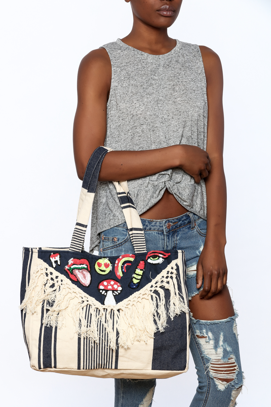 America & Beyond Fringe Patch Tote - Side Cropped Image