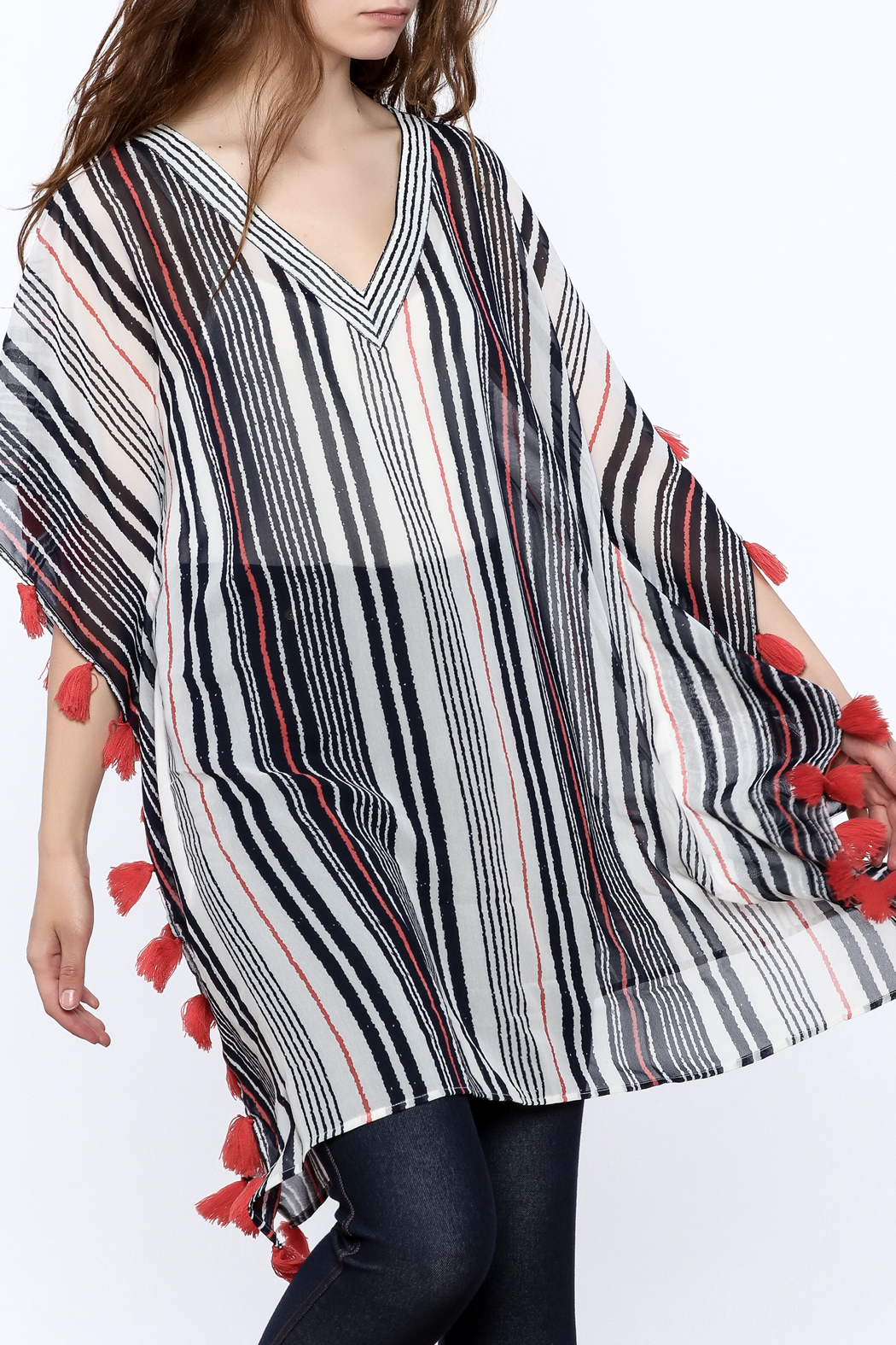 America & Beyond Striped Tasseled Kimono - Main Image