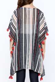 America & Beyond Striped Tasseled Kimono - Back cropped