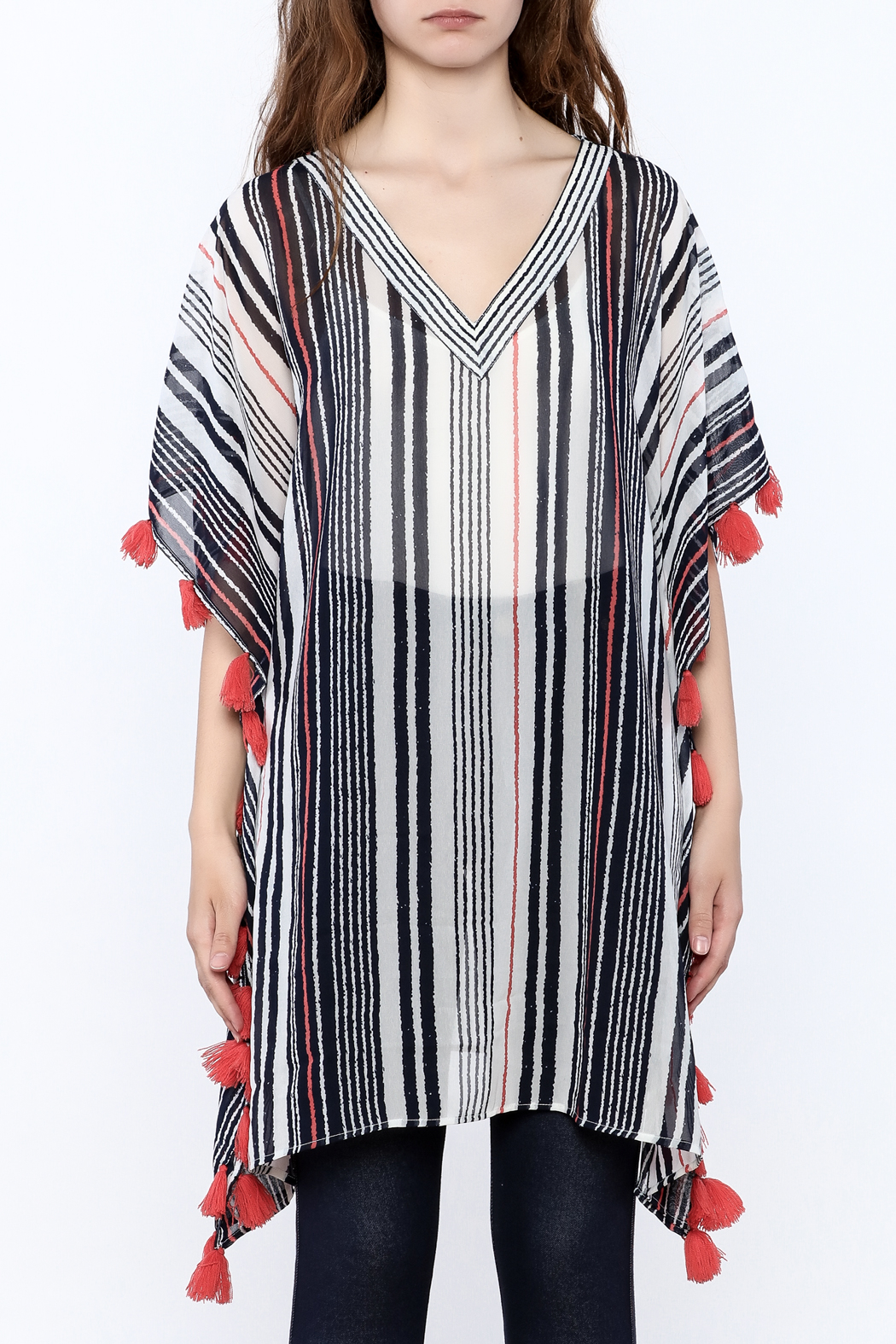 America & Beyond Striped Tasseled Kimono - Side Cropped Image