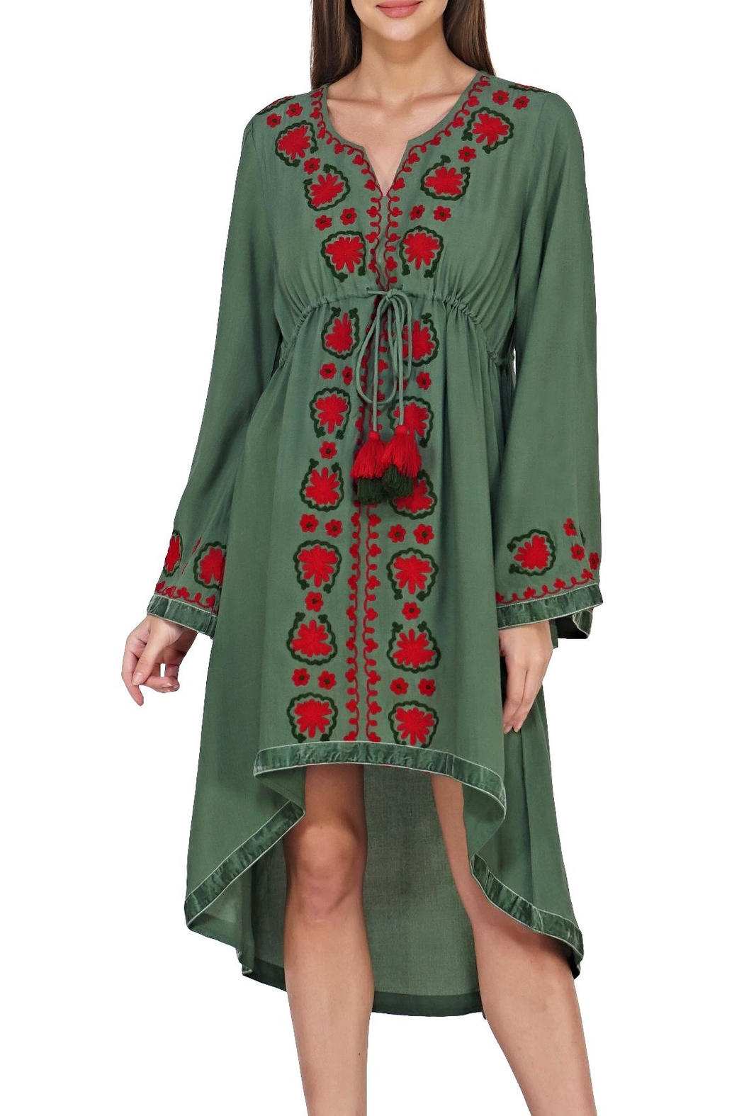 America & Beyond Embroidered Hi-Low Dress - Main Image