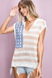 Bibi American Flag Print V Neck Sleeveless Sweater - Product Mini Image