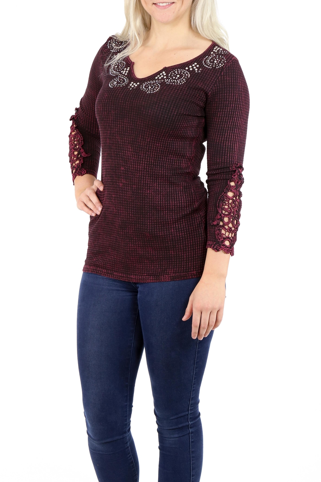 American Age Ribbed Henley - Front Full Image