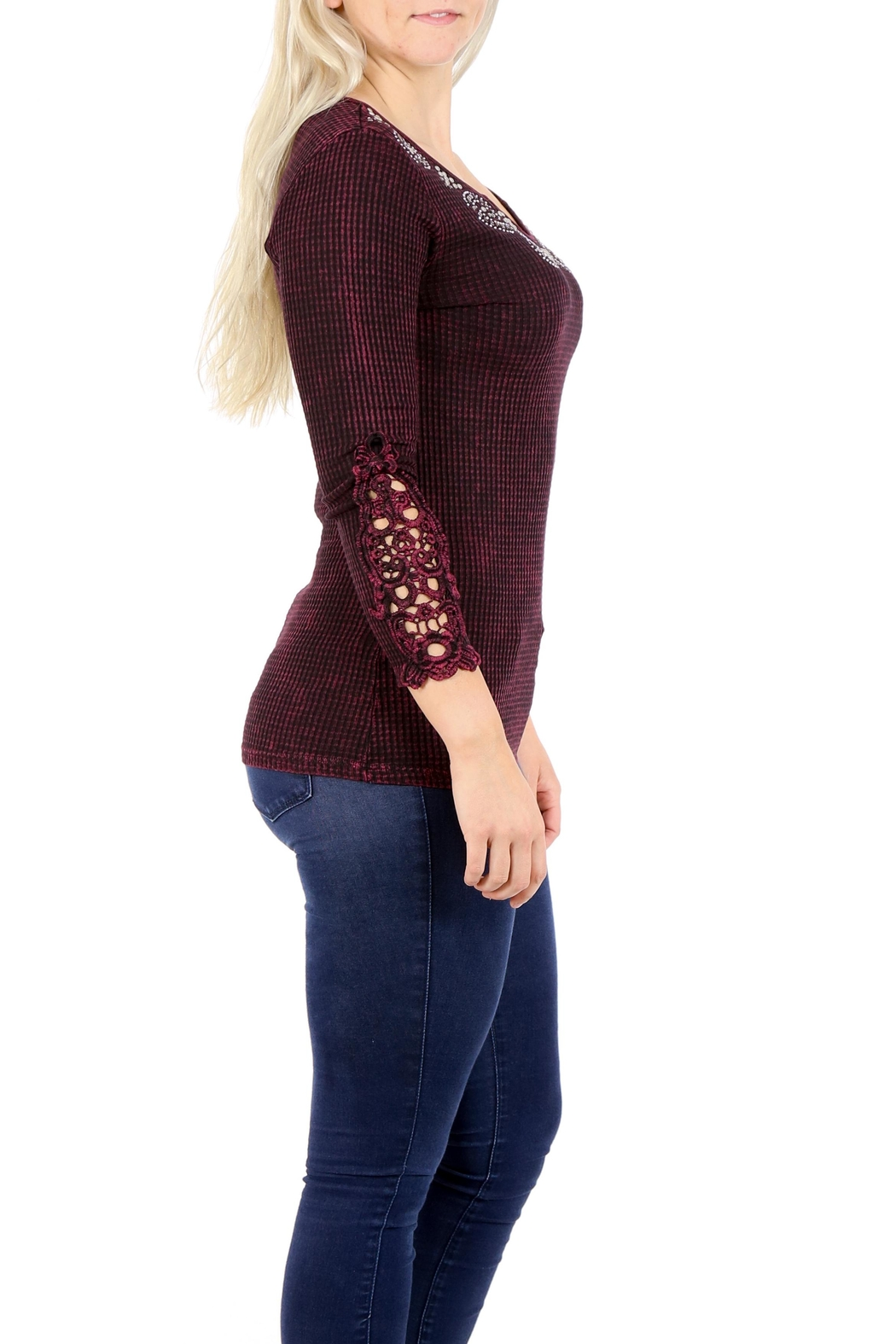 American Age Ribbed Henley - Back Cropped Image