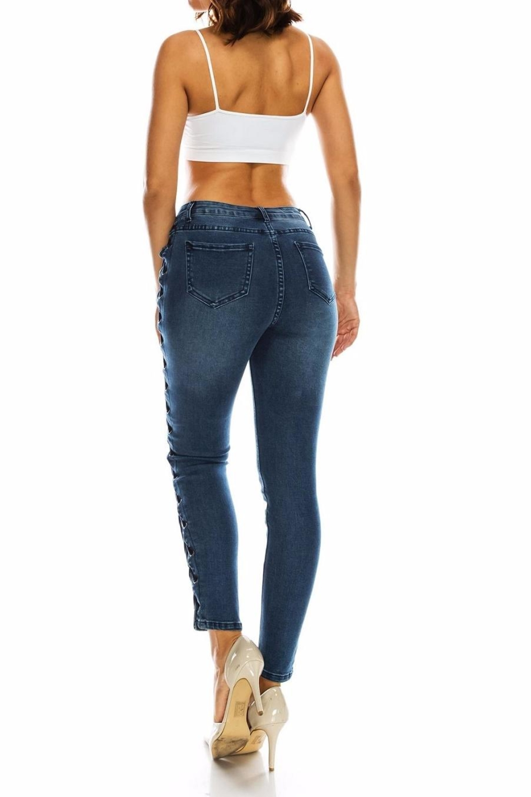 American Bazi Laceup Plussize Jeans - Front Full Image