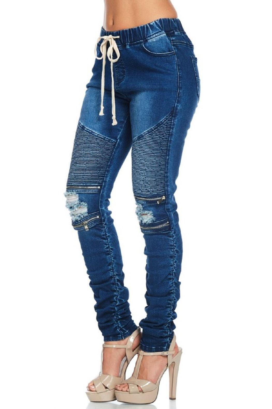 American Bazi Moto Ripped Jeans - Side Cropped Image