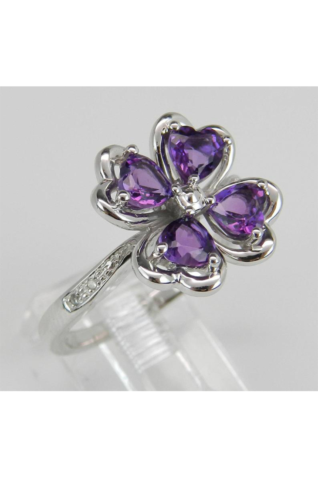 Margolin & Co Amethyst an Diamond Ring, Heart Amethyst in Clover Design with Diamond Cocktail Ring in White Gold Size 8 February Gem - Front Full Image