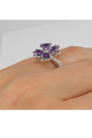 Margolin & Co Amethyst an Diamond Ring, Heart Amethyst in Clover Design with Diamond Cocktail Ring in White Gold Size 8 February Gem - Other