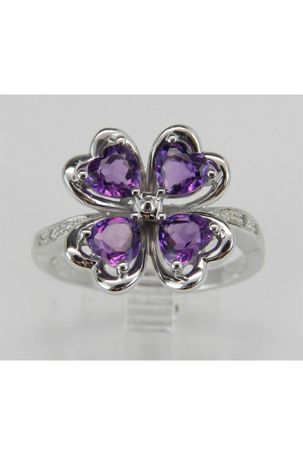 Margolin & Co Amethyst an Diamond Ring, Heart Amethyst in Clover Design with Diamond Cocktail Ring in White Gold Size 8 February Gem - Main Image