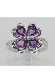 Margolin & Co Amethyst an Diamond Ring, Heart Amethyst in Clover Design with Diamond Cocktail Ring in White Gold Size 8 February Gem - Product Mini Image