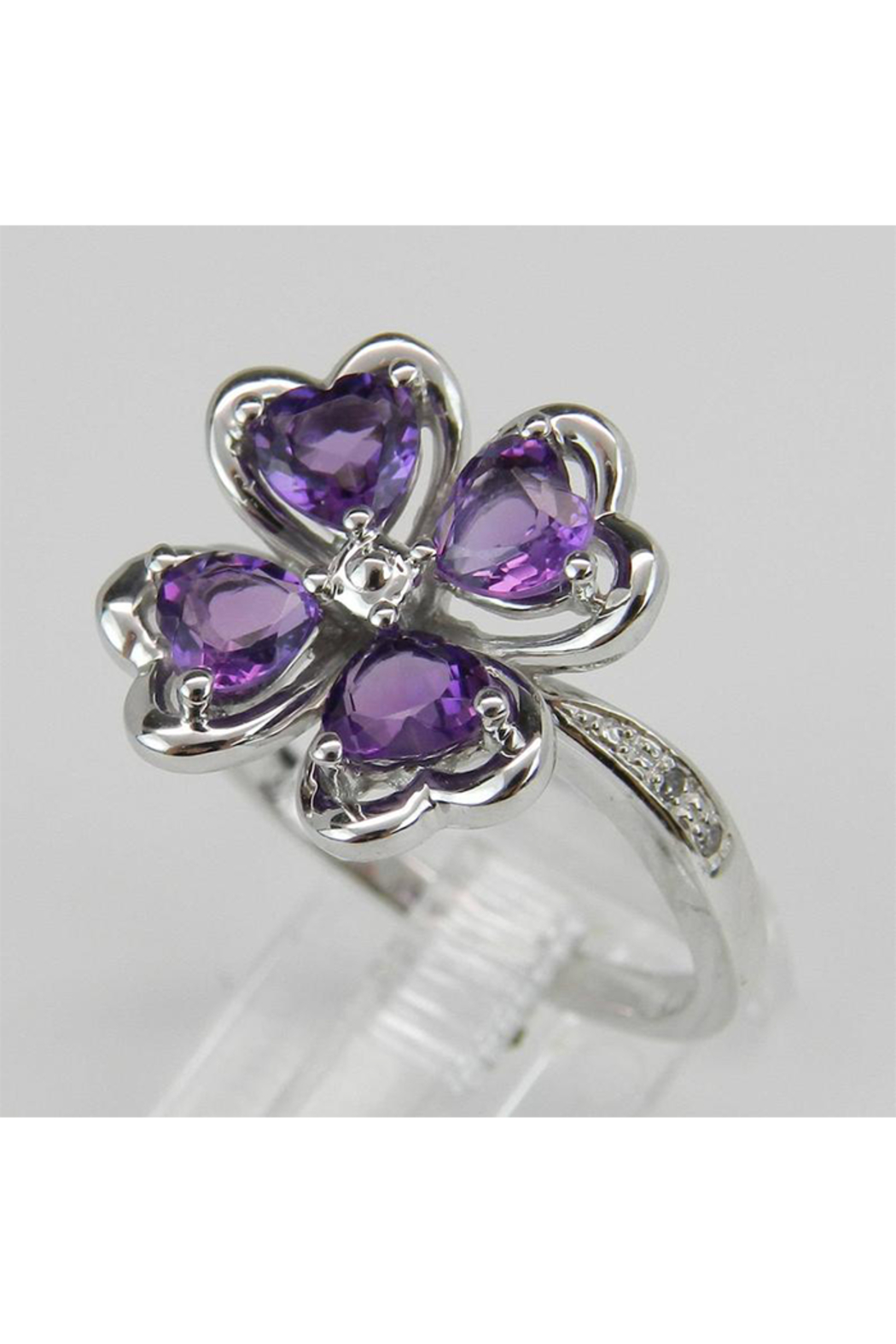 Margolin & Co Amethyst an Diamond Ring, Heart Amethyst in Clover Design with Diamond Cocktail Ring in White Gold Size 8 February Gem - Side Cropped Image