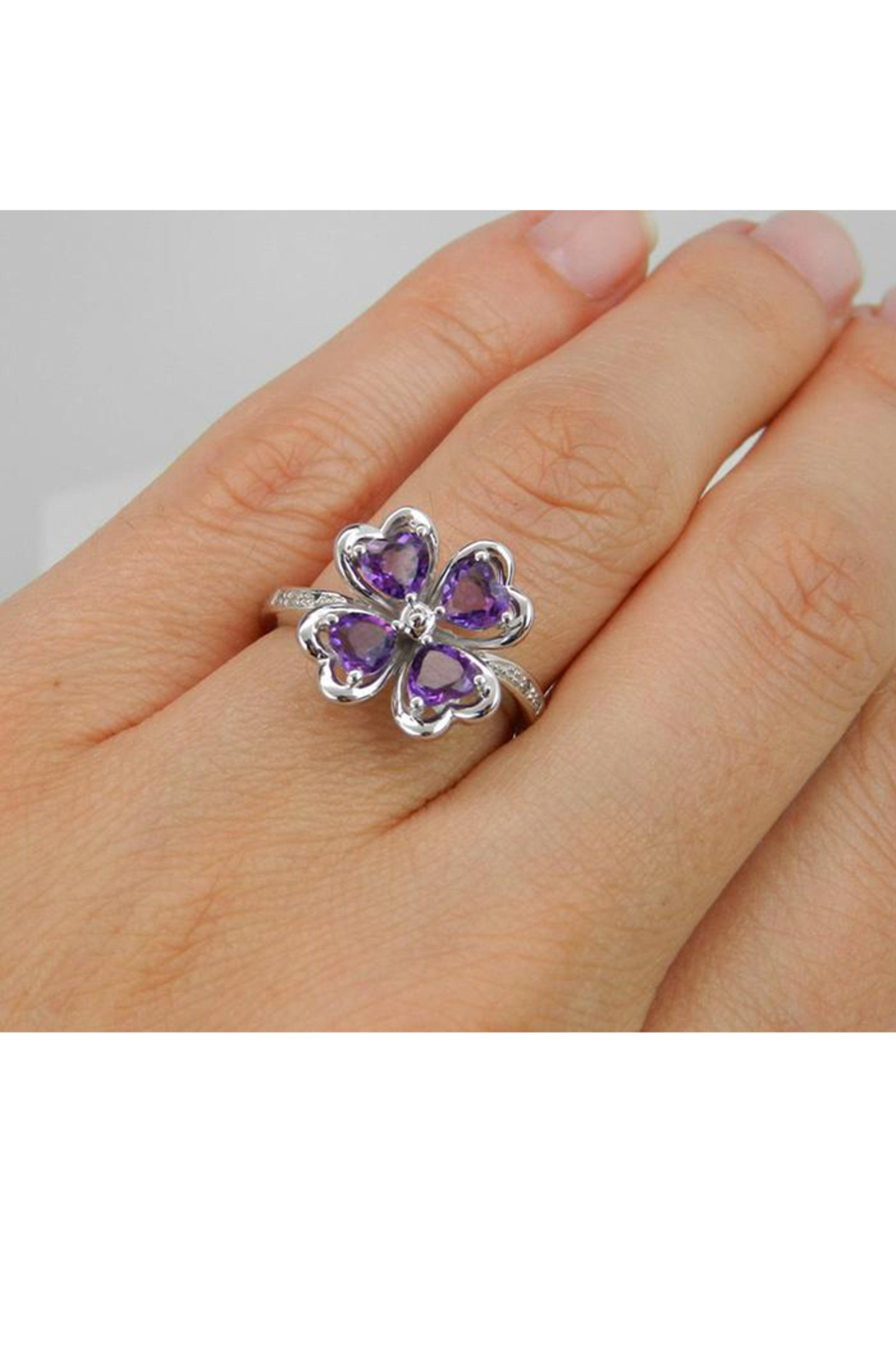 Margolin & Co Amethyst an Diamond Ring, Heart Amethyst in Clover Design with Diamond Cocktail Ring in White Gold Size 8 February Gem - Back Cropped Image