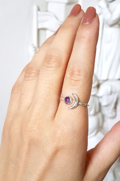 Crystal Earth Amethyst Crescent Moon Ring - Alternate List Image