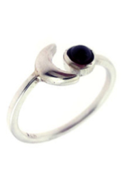 Crystal Earth Amethyst Crescent Moon Ring - Product Mini Image