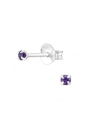 Silver Jewels Amethyst Crystal Round 2mm Stud Earrings - Front cropped
