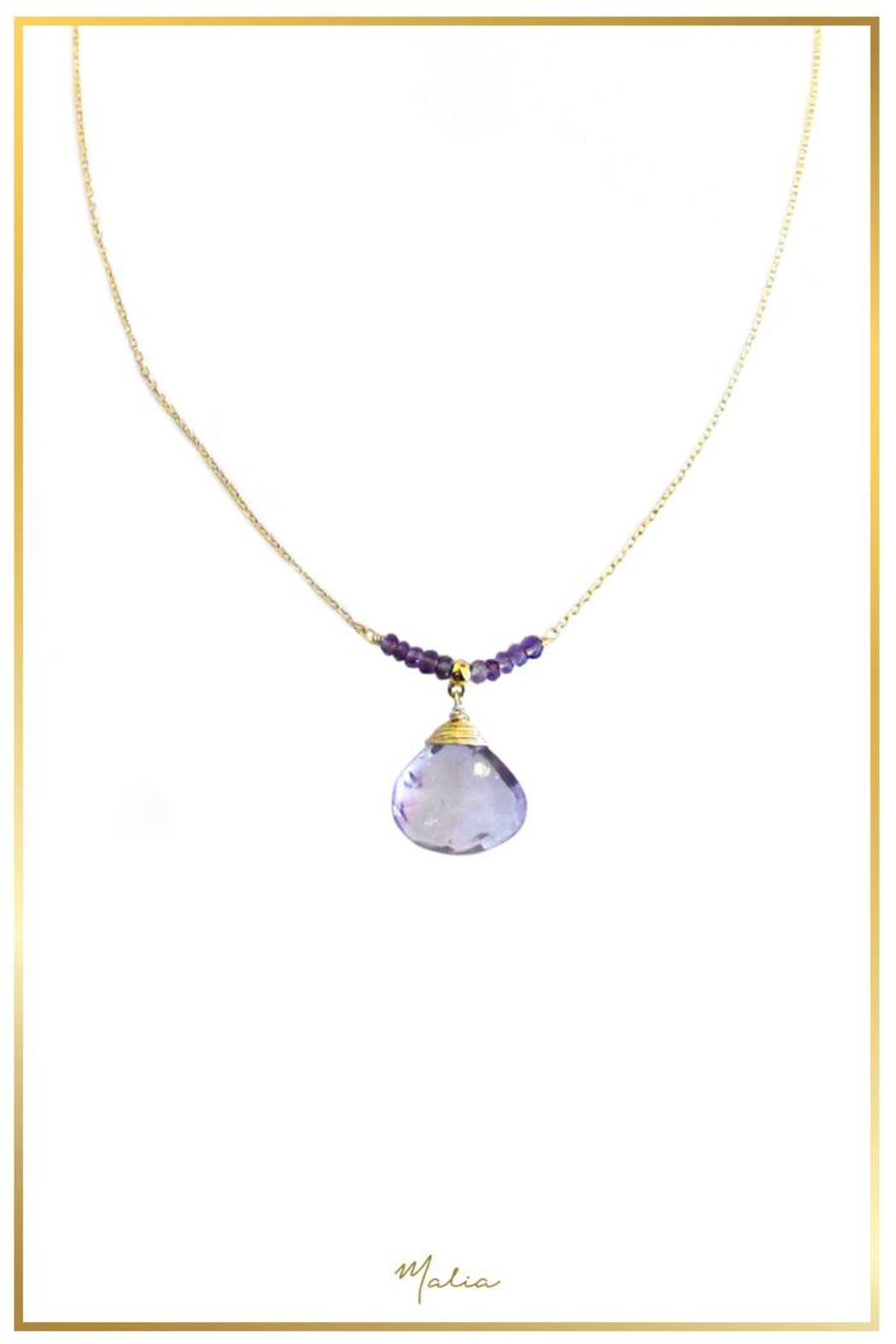 Malia Jewelry Amethyst Drop Necklace - Front Cropped Image
