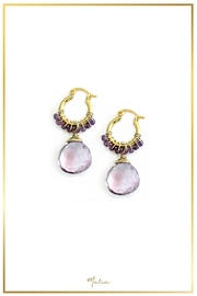 Malia Jewelry Amethyst Gold Hoops - Product Mini Image