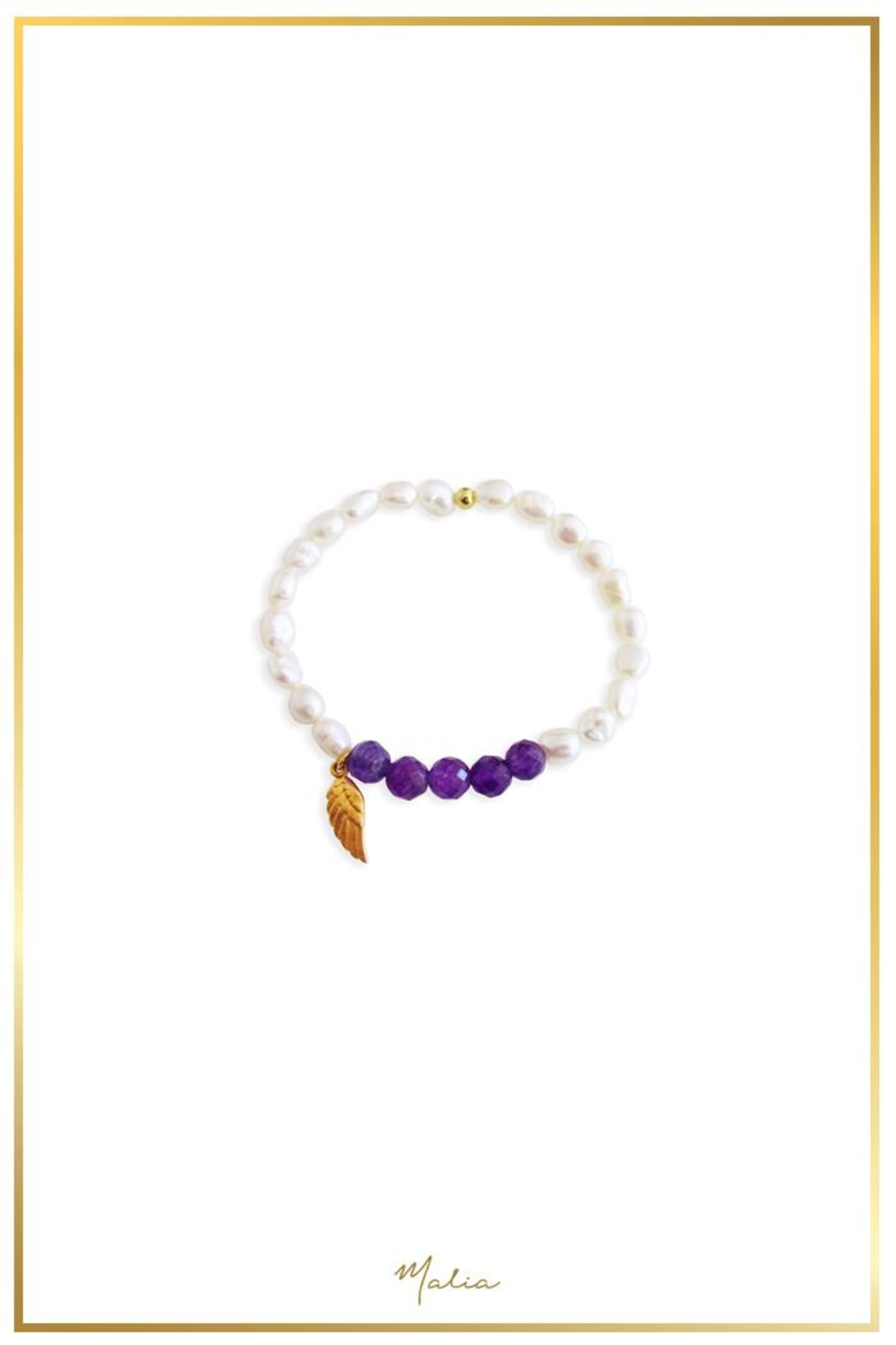 Malia Jewelry Amethyst Pearl Bracelet - Front Cropped Image