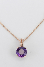 Margolin & Co Amethyst Solitaire Necklace, Diamond and Amethyst Pendant, Rose Gold Necklace with Chain, February Birthstone - Product Mini Image