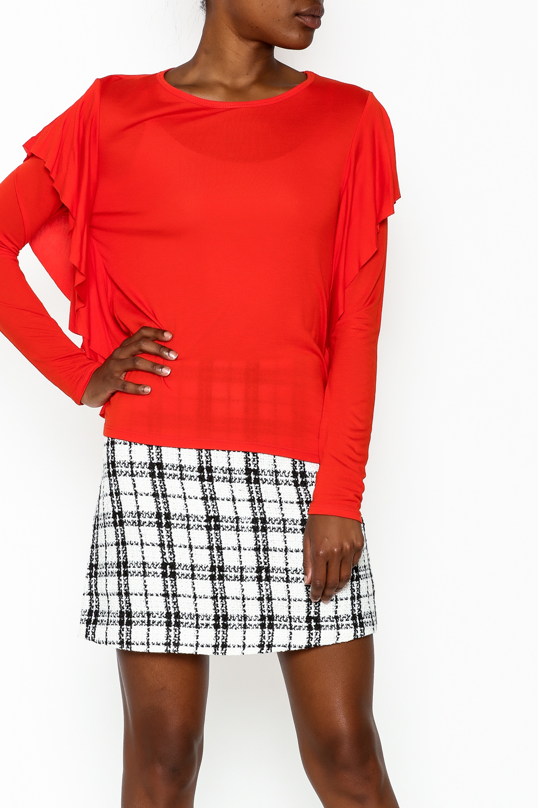 Amite Orange Frill Top - Front Cropped Image