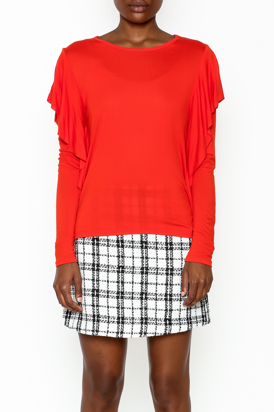 Amite Orange Frill Top - Front Full Image