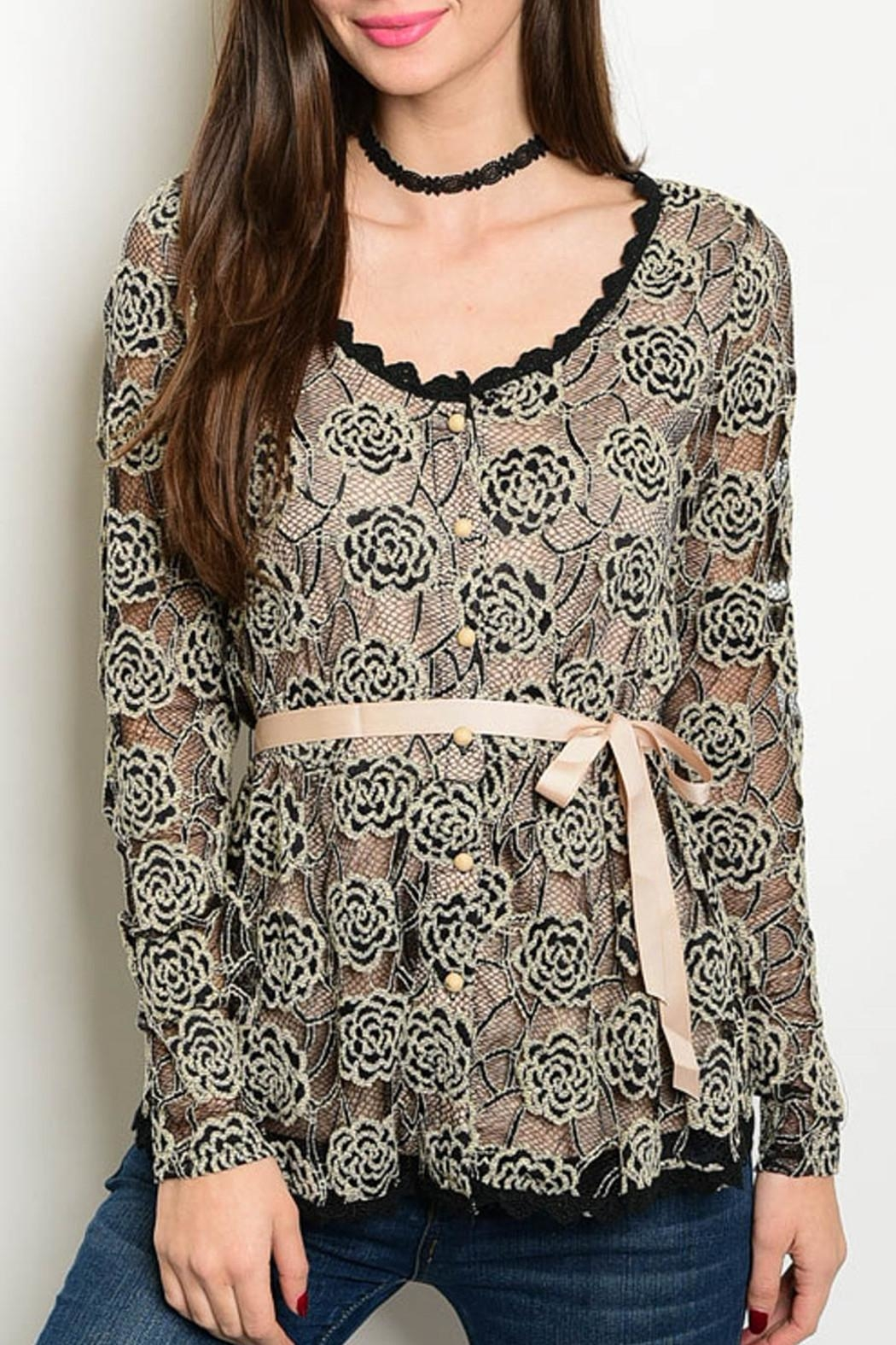 Amitie Clothing Taupe Black Blouse - Front Cropped Image