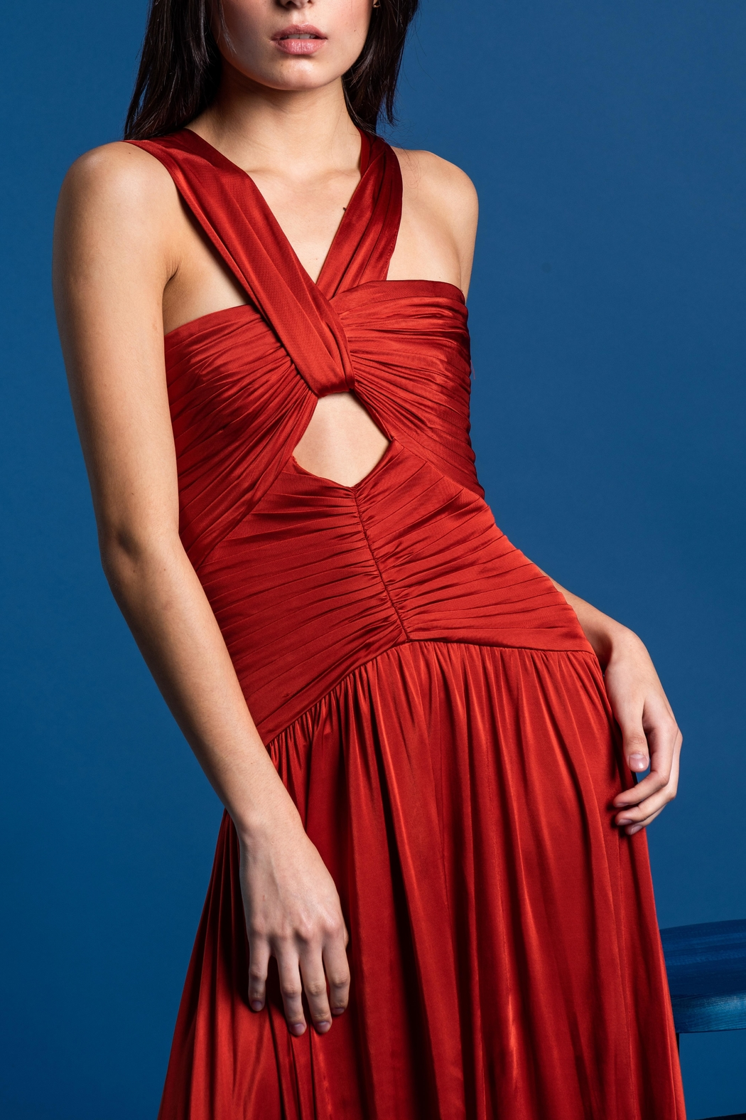 Amur Terracota Pleated Dress - Main Image