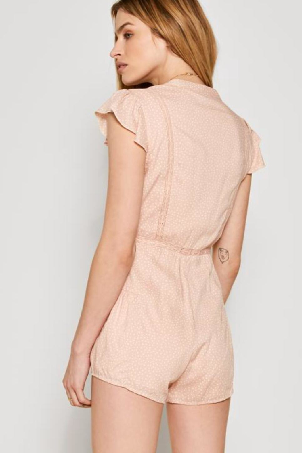 AMUSE SOCIETY Pink Lace Romper - Front Full Image
