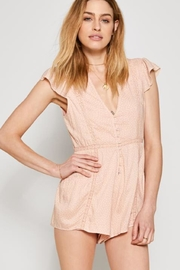AMUSE SOCIETY Pink Lace Romper - Front cropped