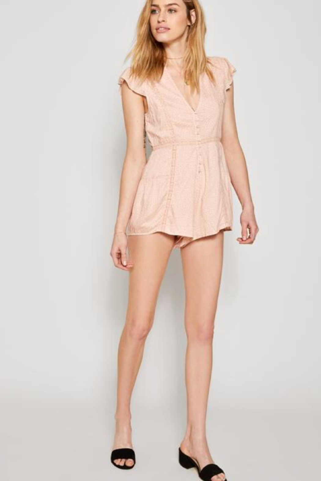 AMUSE SOCIETY Pink Lace Romper - Side Cropped Image