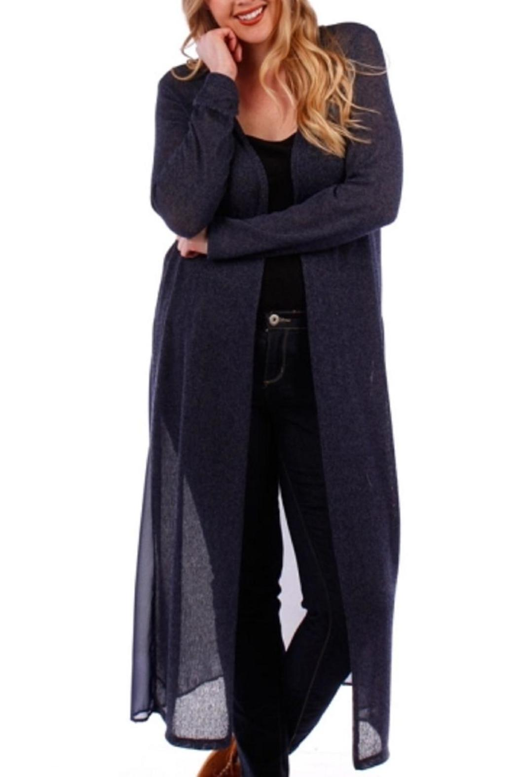 Amy's Allie Long Navy Cardigan from Ohio by Amy's Allie — Shoptiques