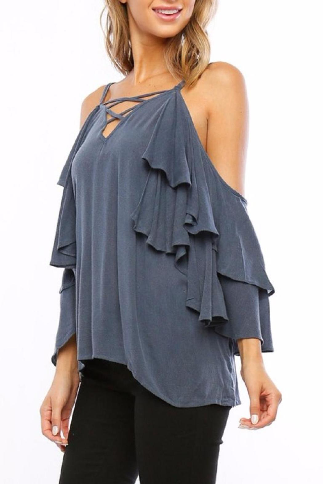 Amy's Allie  Ruffled Bell Blouse - Front Full Image