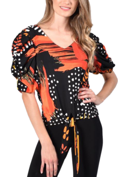 Frank Lyman An easy fit top with a stand out feature sleeve and a tie at the front. - Alternate List Image