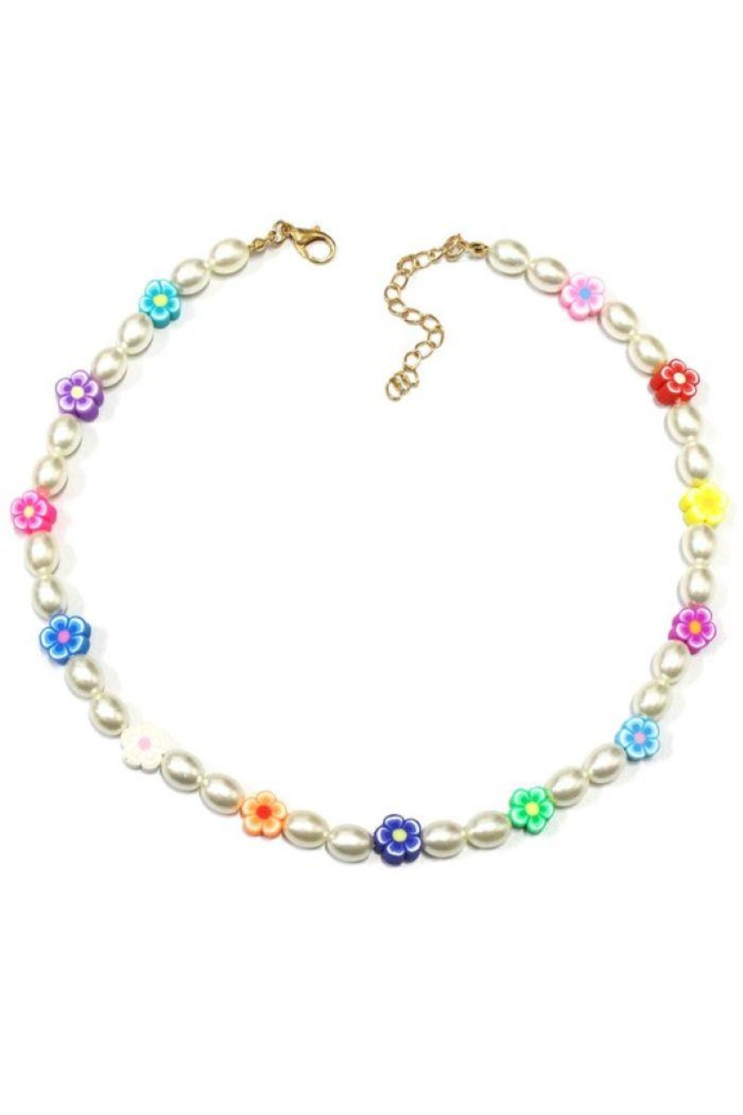 Ana Accessories Flower Charm Beaded Pearl Necklace - Main Image