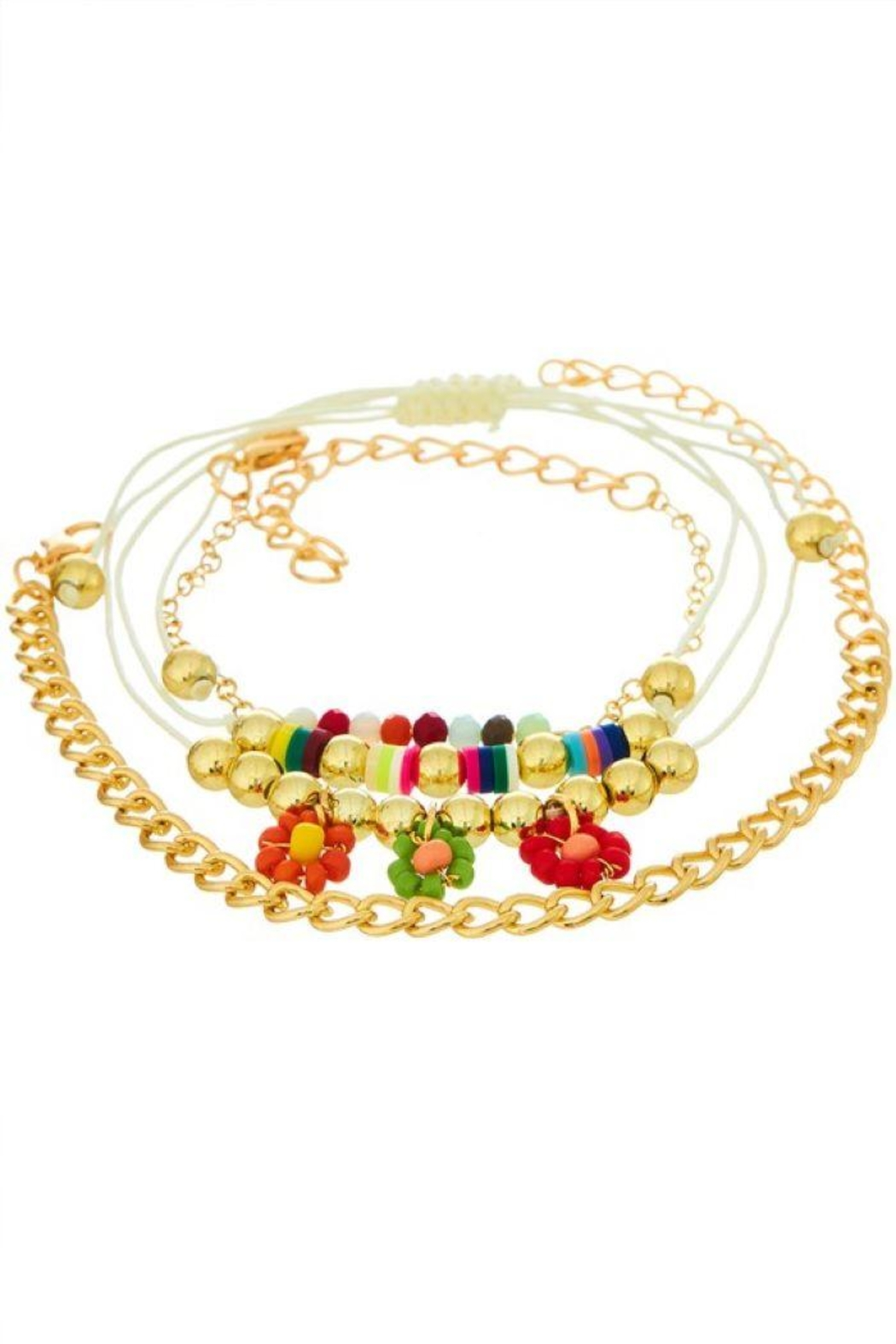 Ana Accessories Flower Layered Anklet - Main Image