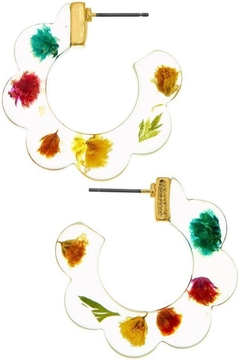 Shoptiques Product: Flower Open Hoop Earrings