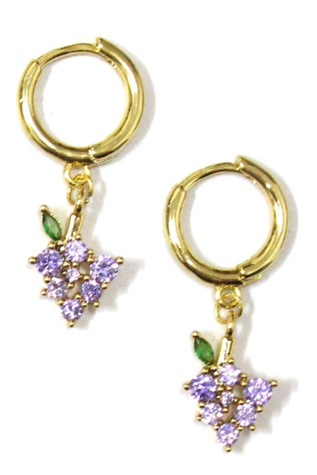 Ana Accessories Grape Huggie Earring - Front Cropped Image