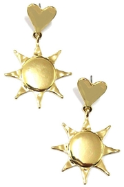 Ana Accessories Heart And Sun Link Drop Earrings - Product Mini Image