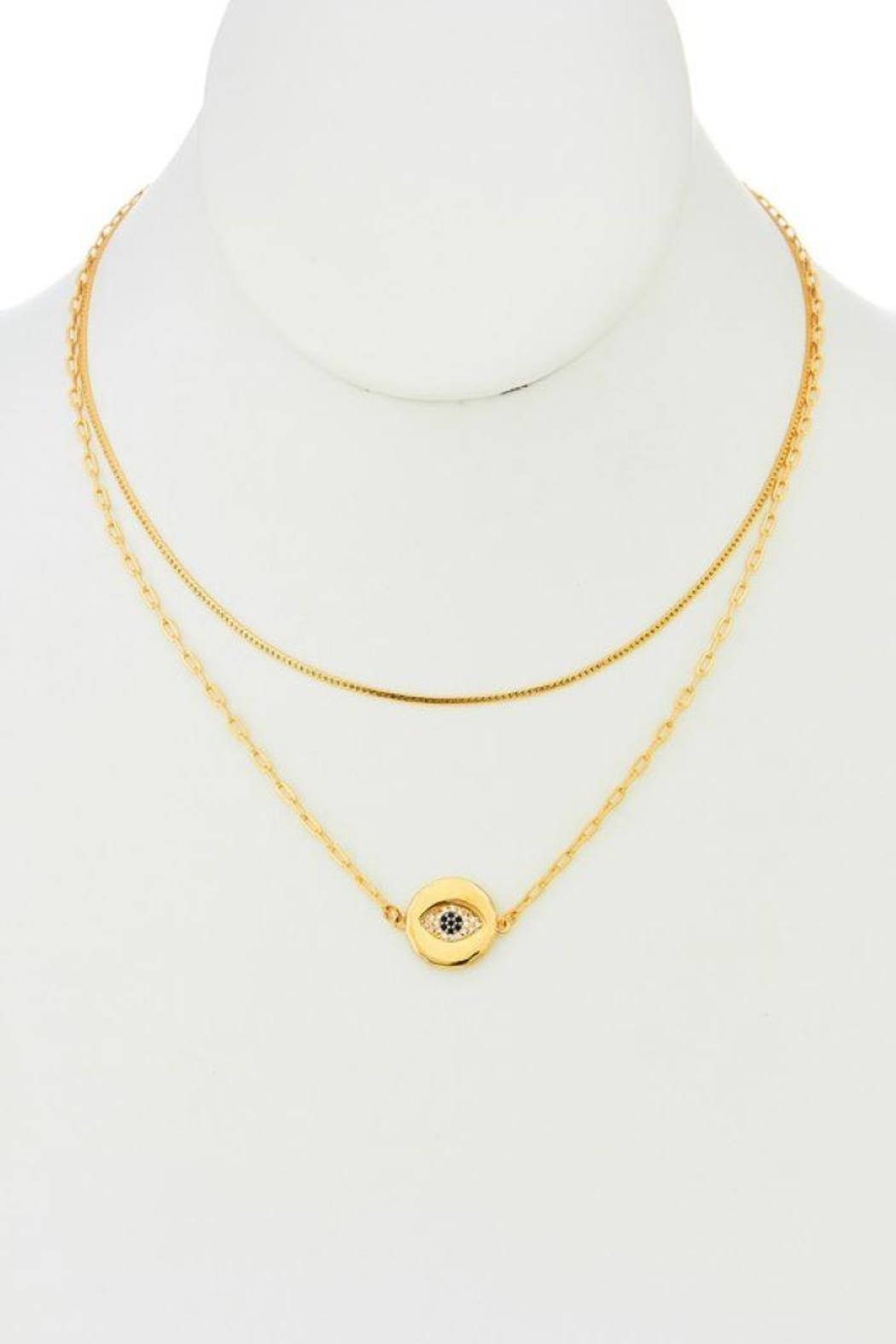 Ana Accessories Layered Eye Pendant Necklace - Front Full Image