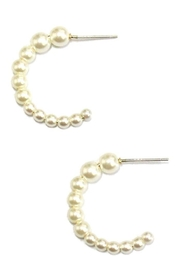 Ana Accessories Pearl Band Open Hoop Earrings - Product Mini Image