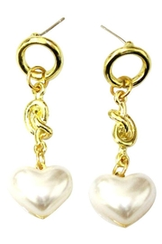 Ana Accessories Pearl Heart Earring - Front cropped