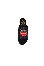 Ana Colina Boutique Black Lips Slide Sandals - Front full body